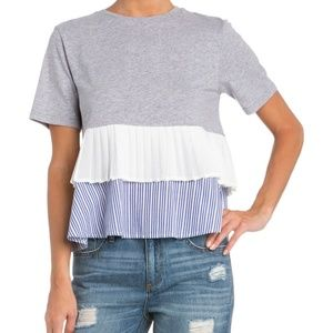 Miss Me Layered Up Ruffle Top Gray Blue White L
